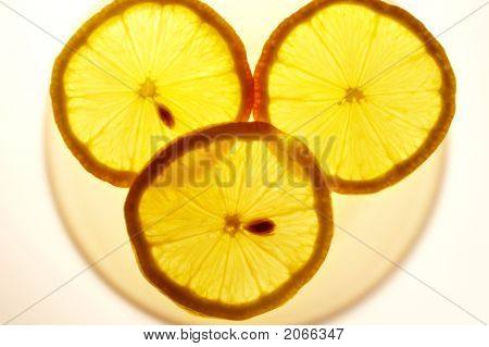 Lemon Slices On A Transparent Plate With Backlight