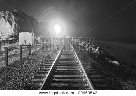 Train Tracks At Night
