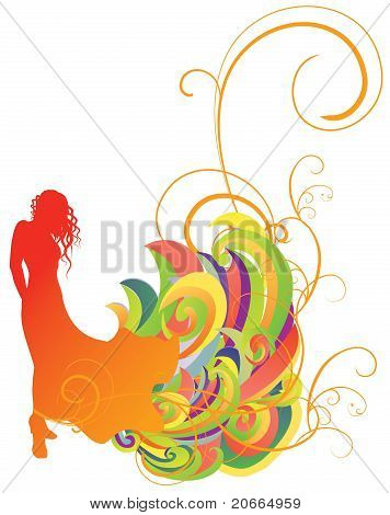 Colorful Vector Girl In Dress