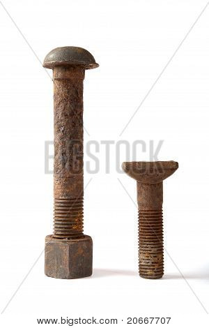 Rusty Bolt With A Nut  On  White Background