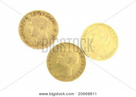 Three Gold Coins With Napoleon