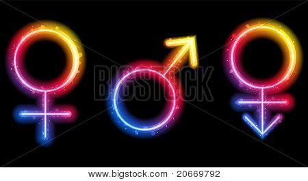 Male, Female And Transgender Gender Symbols Laser Neon