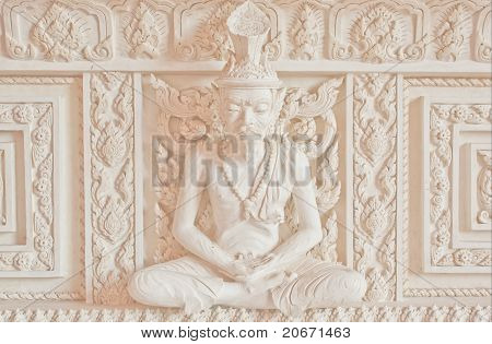 Ascetic statue in Thai style molding art rt