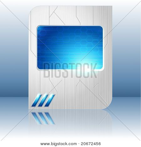 Blue and brushed steel futuristic sign. Includes transparencies