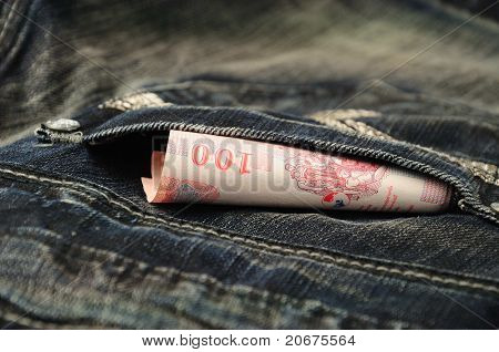 100 Baht Bill In Jean Pocket