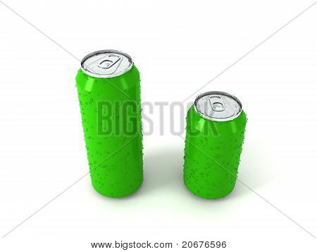 3D Illustration Of Two Green Aluminum Cans