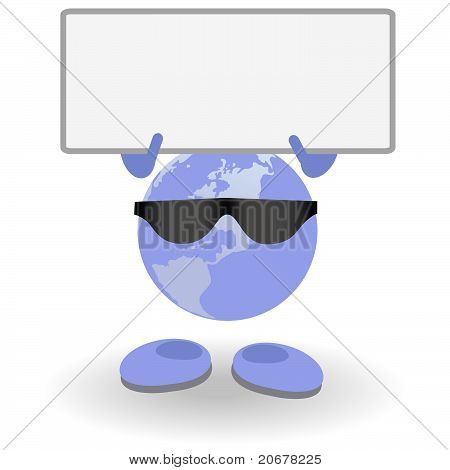 Round Person With Blank Card