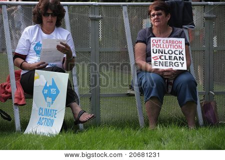 Brisbane, Australia - June 6 : Older Women With Clean Energy And Say Yes To Carbon Tax Protest Signs
