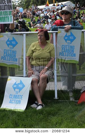 Brisbane, Australia - June 6 : Older Women With Cut Pollution And Say Yes To Carbon Tax Protest Sign