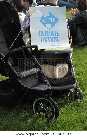 Brisbane, Australia - June 6 : Say Yes To Climate Action Protest Sign On Next Generation Pram At Wor