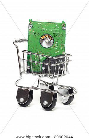 Computer Hard Disk In Mini Shopping Cart