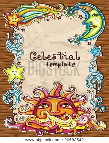 Vintage grunge frame with Celestial symbols: sun, moon, star, comet, with human faces, and cute cloud.  Symbols isolated on wooden background.
