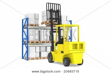 Forklift And Shelves. Forklift Loading Pallet Rack. Part Of A Blue Warehouse And Logistics Serie.