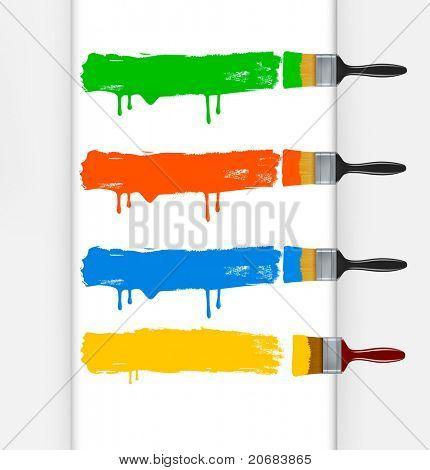 Escovas de pintura colorida, deixando um rastro horizontal. Ilustração vetorial.