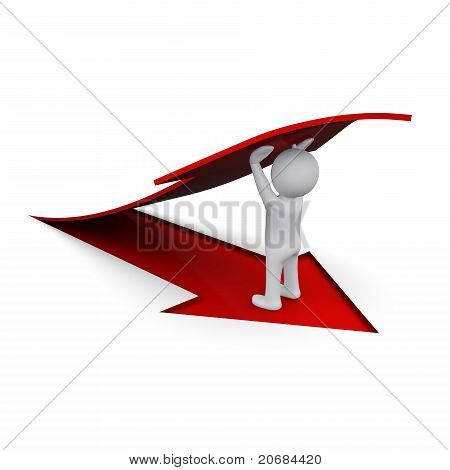 3D man with red arrow