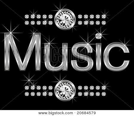 vector thin metal diamond word music big and small