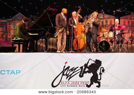 LVIL, UKRAINE - June 3: Wynton Marsalis and Igor Butman Quartet in concert during Alfa Jazz Festival on June 3, 2011 in Lviv, Ukraine.