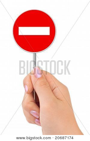 No Entry Sign In Hand
