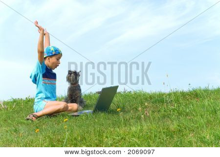 The Boy, Dog And Laptop