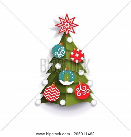 poster of Christmas tree decoration element for Xmas greeting cards, flat style vector illustration isolated on white background, 3d paper cutout design. Flat style Christmas tree, Xmas decoration element