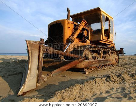 Bulldozer  on sand