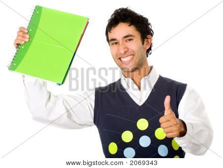 College Student With A Notebook