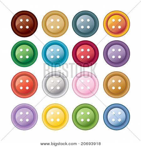Set of colorful sewing buttons - vector illustration