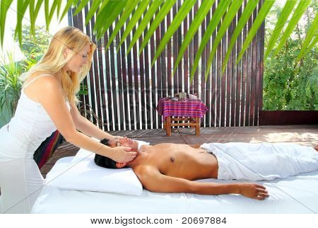 Massage therapy physiotherapy reiki in jungle cabin latin and asian technics