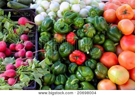 greengrocers radish tomatoes green red peppers pattern