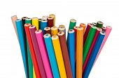 foto of blunt  - set of colored pencils facing the blunt end up isolated - JPG