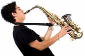 foto of saxophone player  - guy playing the saxophone over a white background - JPG