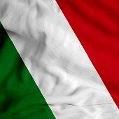 Italian flag on satin texture