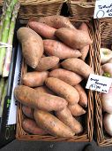 picture of solanum tuberosum  - Red sweet potatoes pouring in a woven basket - JPG