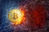 Golden bitcoin coin flying in fire flame, water splashes and lightning. Bitcoin Cash hard fork conce poster
