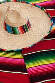 Mexican Serape and a sombrero as a background