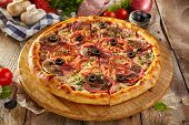 Pizza Restaurant Menu - Delicious Fresh Pizza with Sausages, Tomatoes and Mushrooms.Pizza on Rustic  poster