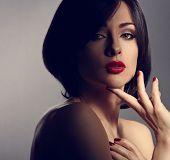 Mystic Beautiful Makeup Expression Woman With Short Hair Style, Red Lipstick And Manicured Nails On poster