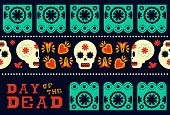 Day Of The Dead Modern Skull Pattern Decoration poster