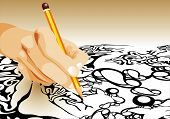 picture of storyboard  - Hand drawing abstract figure - JPG