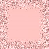 Pink Gold Glitter. Chaotic Border With Pink Gold Glitter On Pink Background. Classy Vector Illustrat poster