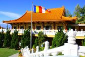 stock photo of hacienda  - Buddhist Temple with a Buddhist flag taken in Hacienda Heights - JPG