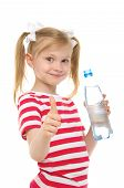 happy girl with bottle of water smiling