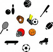 sports illustrations and symbols set