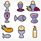 image of ear candle  - Set of Illustration of a communion depicting traditional Christian symbols including candle  - JPG