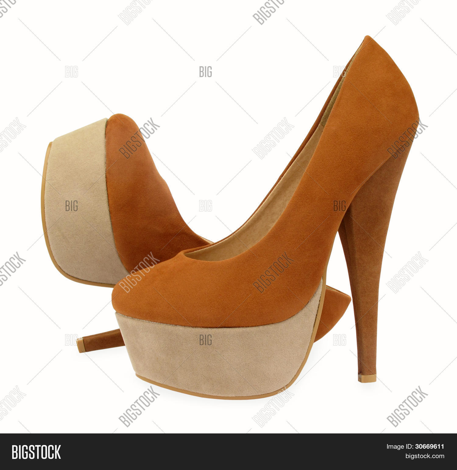 Brown and beige high heels pump shoes Stock Photo & Stock Images ...