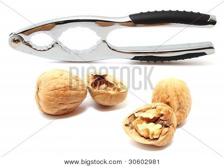 Nutcracker With Walnuts Isolated On White