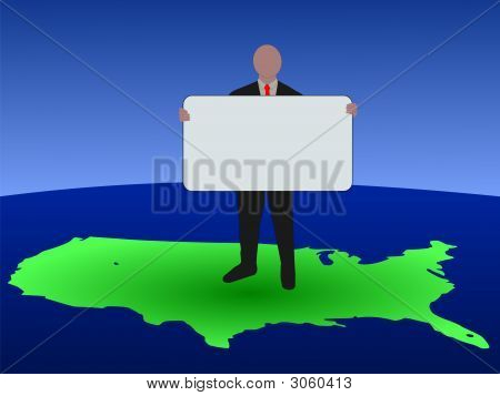 American Business Man With Sign