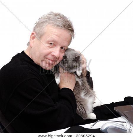 Old friends. Portrait of man with his cat.