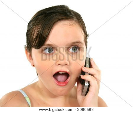 Surprised Little Girl On Phone