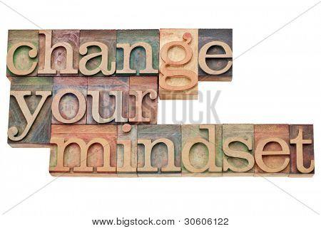Change your mindset - isolated motivational phrase in vintage letterpress wood type